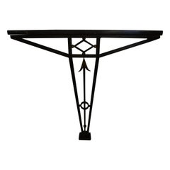 French Art Deco Wrought Iron Console with Marble Top