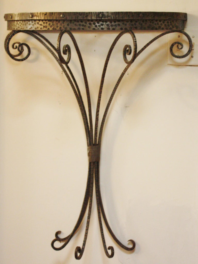 French Art Deco Wrought Iron Demi-Lune Vide Poche Entry Table & Mirror Set For Sale 2