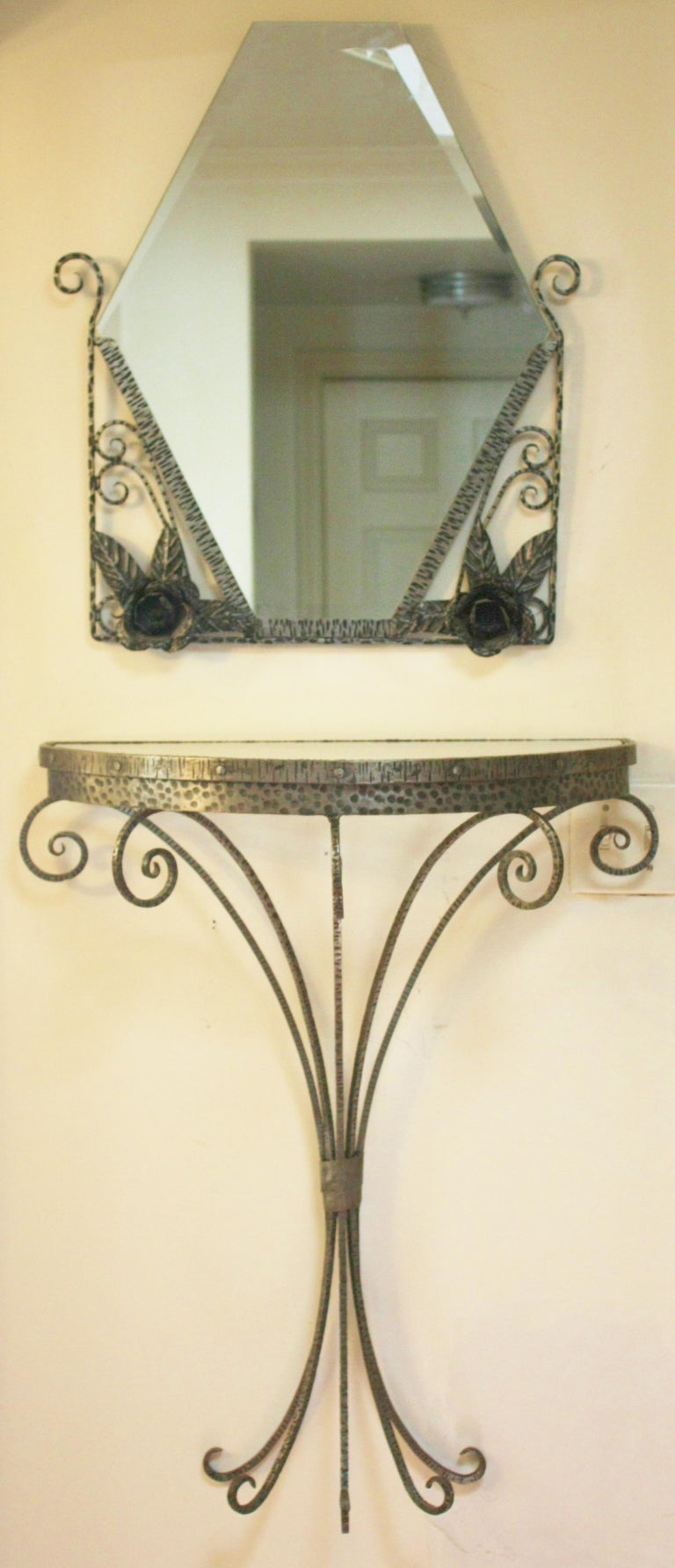 French Art Deco Wrought Iron Demi-Lune Vide Poche Entry Table & Mirror Set For Sale 4