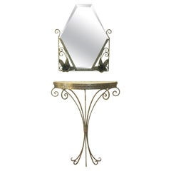 French Art Deco Wrought Iron Demi-Lune Vide Poche Entry Table & Mirror Set