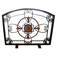 French Art Deco Wrought Iron Fire Screen by Szabo, circa 1925