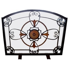 French Art Deco Wrought Iron Fireplace Screen Signed Szabo