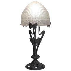 French Art Deco Wrought Iron Frosted Art Glass Table Lamp