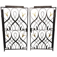 French Art Deco Wrought Iron Indoor Gate Signed by Edgar Brandt