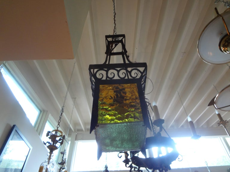 French Art Deco Wrought Iron Lantern For Sale 5