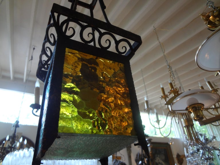 French Art Deco Wrought Iron Lantern For Sale 1