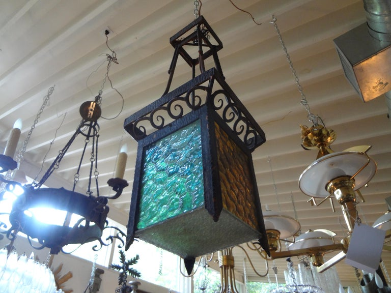 French Art Deco Wrought Iron Lantern For Sale 2