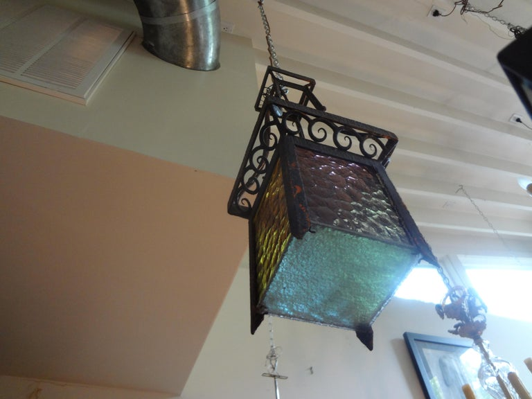French Art Deco Wrought Iron Lantern For Sale 3
