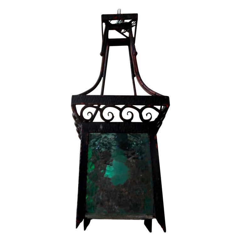 French Art Deco Wrought Iron Lantern For Sale