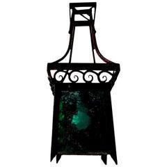 French Art Deco Wrought Iron Lantern