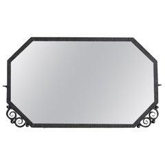 French Art Deco Wrought Iron Mirror, 1930