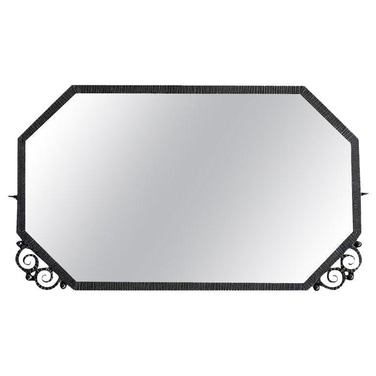 French Art Deco Wrought Iron Mirror, ca.1930