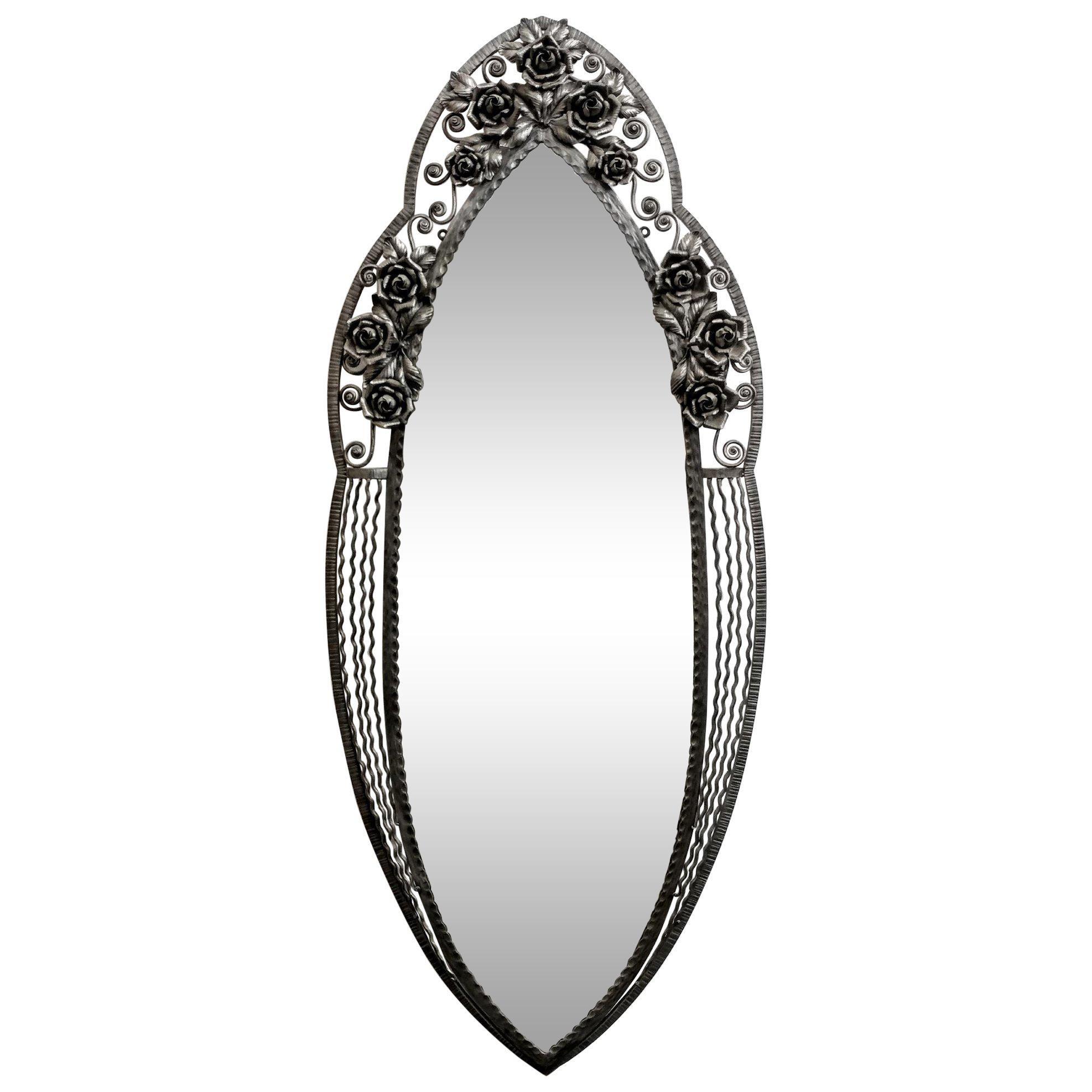 French Art Deco wrought Iron Mirror