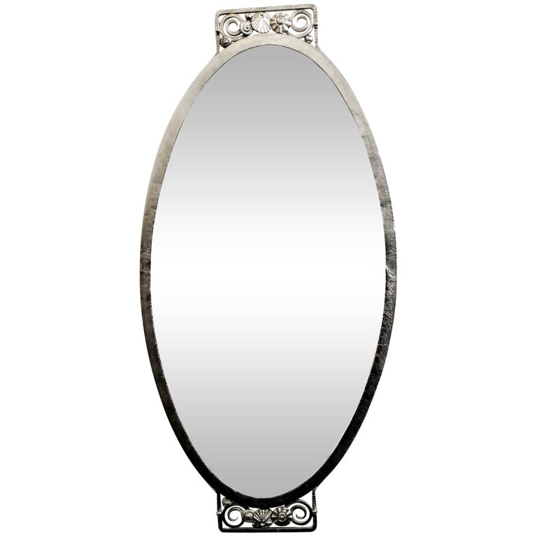 French Art Deco Wrought Iron Mirror For Sale