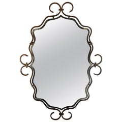 French Art Deco Wrought Iron Mirror in the Manner of Raymond Subes