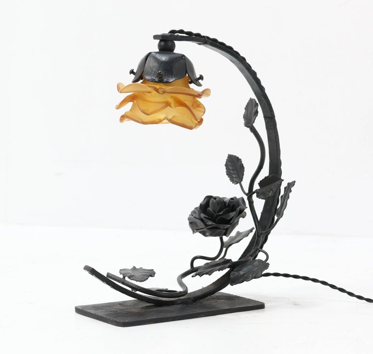 Blown Glass French Art Deco Wrought Iron Table Lamp, 1930s For Sale