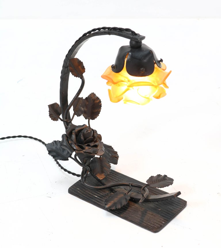 French Art Deco Wrought Iron Table Lamp, 1930s For Sale 2