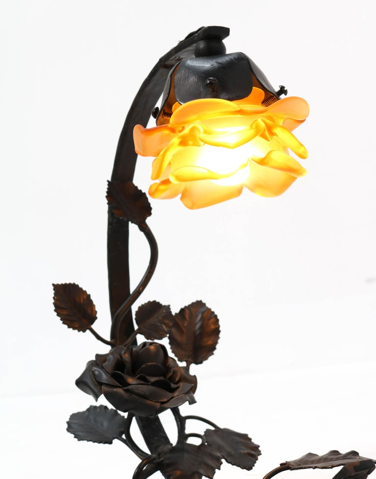 French Art Deco Wrought Iron Table Lamp, 1930s For Sale 3