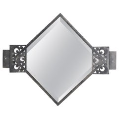 French Art Deco Wrought-Iron Wall Mirror by Morin, 1920s