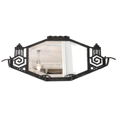 French Art Deco Wrought-Iron Wall Mirror Coat-Peg, 1925