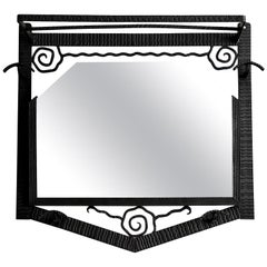 French Art Deco Wrought-Iron Wall Mirror Coat-Peg, 1930s
