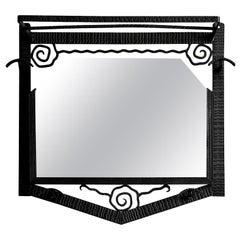 French Art Deco Wrought-Iron Wall Mirror Coat-Peg, 1930s