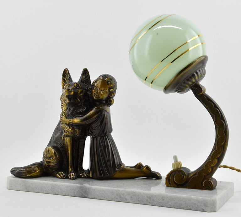 Mid-20th Century French Art Deco Young Girl and German Shepherd Sculpture Table Lamp, 1930s For Sale