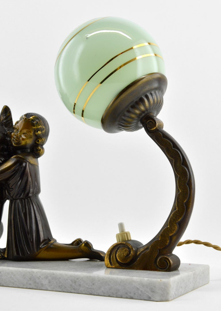 Glass French Art Deco Young Girl and German Shepherd Sculpture Table Lamp, 1930s For Sale