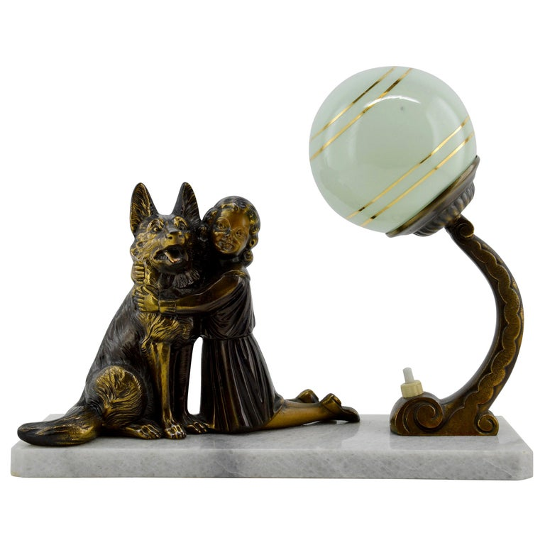 French Art Deco Young Girl and German Shepherd Sculpture Table Lamp, 1930s For Sale