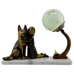 French Art Deco Young Girl and German Shepherd Sculpture Table Lamp, 1930s