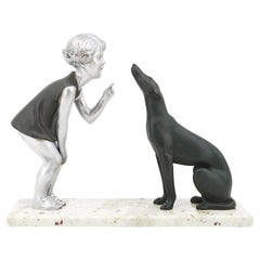 French Art Deco Young Girl & Greyhound Sculpture by P.Sega, 1930s