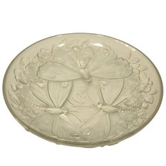 French Verlys Art Glass Butterfly Bowl, 1900s- Lalique Style