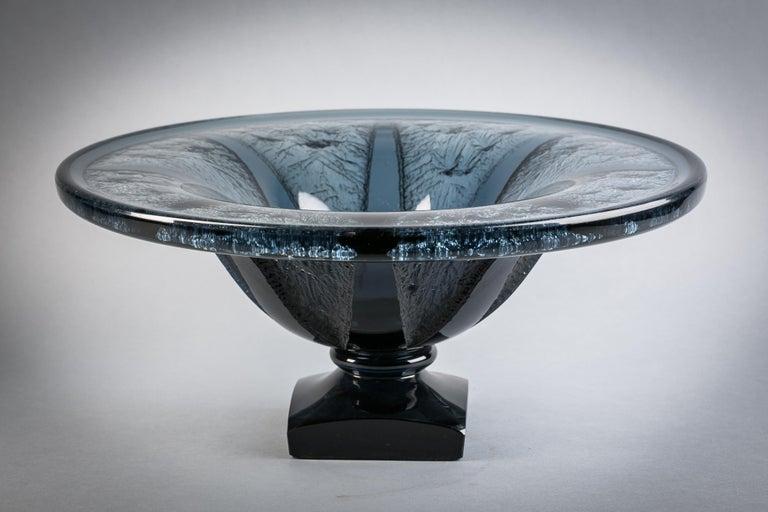 Acid etched footed bowl, Signed Daum Nancy France.