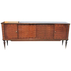 French Art Modern Exotic Macassar Ebony Sideboard / Buffet / Crendenzas