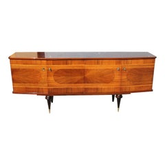 French Art Modern Exotic Macassar Ebony'' Sunburst ''Sideboard / Buffet / Bar