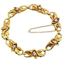 French Art Nouveau 18 Karat Yellow Gold Diamond Bracelet
