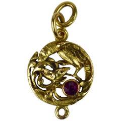 French Art Nouveau 18 Karat Yellow Gold Red Ruby Griffon Charm Pendant