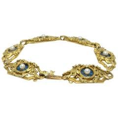 French Art Nouveau 18 Karat Gold Enamel and Pearl Floral Motif Bracelet