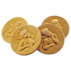 French Art Nouveau 18 Karat Yellow Gold Cherub Cufflinks