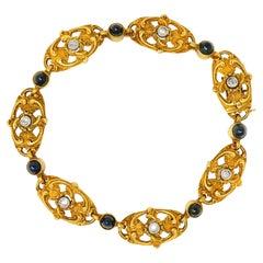 French Art Nouveau 4.50 Carats Sapphire Diamond 18 Karat Gold Link Bracelet