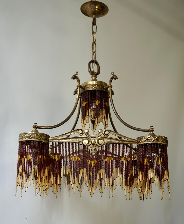 French Art Nouveau and Art Deco Amber Glass Straws Beaded Fringe Chandelier For Sale 4