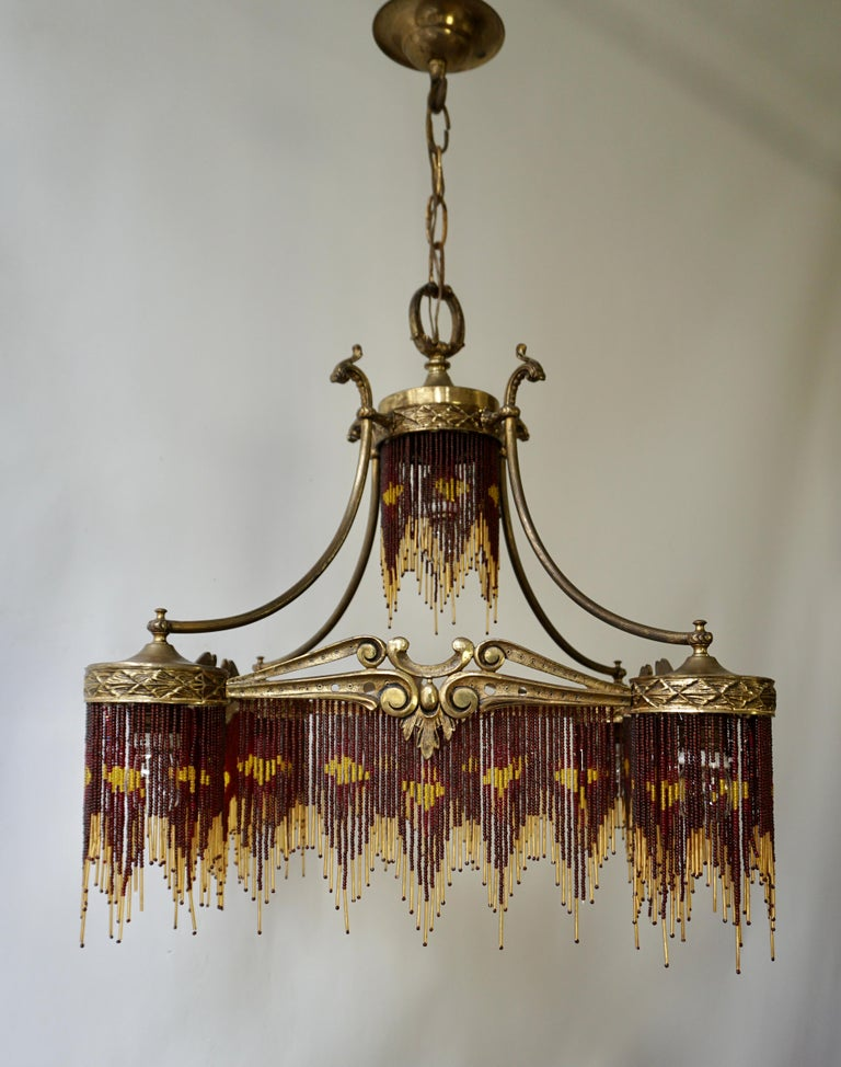 French Art Nouveau and Art Deco Amber Glass Straws Beaded Fringe Chandelier For Sale 5