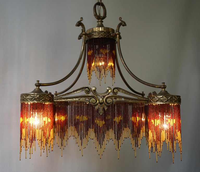 French Art Nouveau and Art Deco Amber Glass Straws Beaded Fringe Chandelier For Sale 6