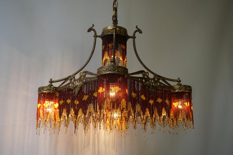 Brass French Art Nouveau and Art Deco Amber Glass Straws Beaded Fringe Chandelier For Sale