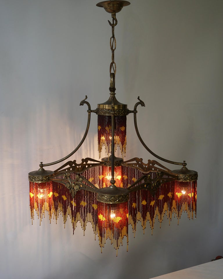 French Art Nouveau and Art Deco Amber Glass Straws Beaded Fringe Chandelier For Sale 1
