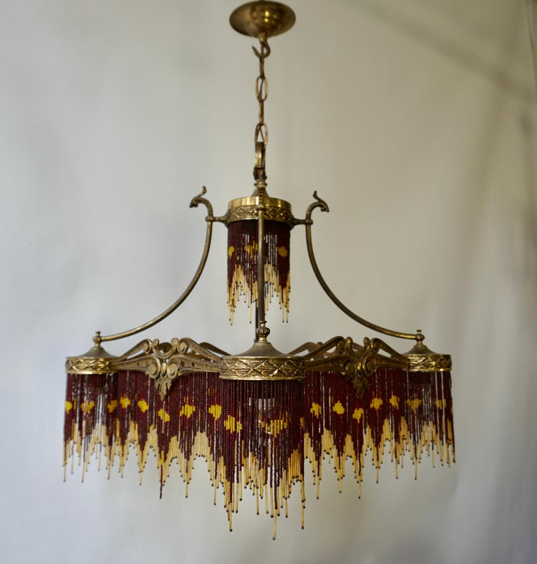 French Art Nouveau and Art Deco Amber Glass Straws Beaded Fringe Chandelier For Sale 2
