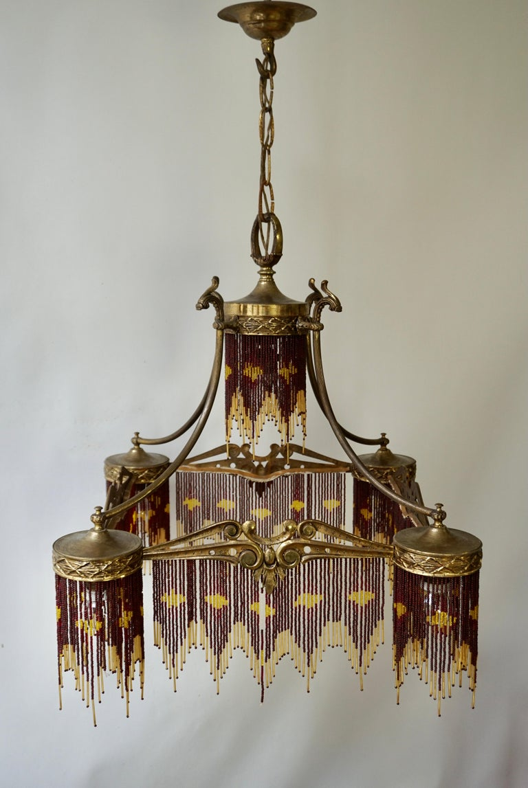 French Art Nouveau and Art Deco Amber Glass Straws Beaded Fringe Chandelier For Sale 3