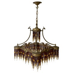 French Art Nouveau and Art Deco Amber Glass Straws Beaded Fringe Chandelier