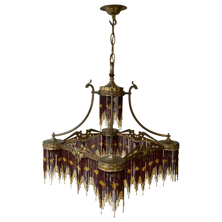 French Art Nouveau and Art Deco Amber Glass Straws Beaded Fringe Chandelier For Sale