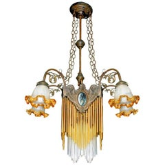 French Art Nouveau, Art Deco Amber Glass Straws Fringe Bronze & Brass Chandelier